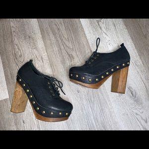 Crown Vintage Leather Gold Studs Clogs Block Heel